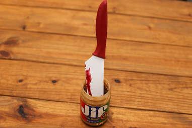 knife in peanut butter