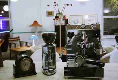 coffee machine, grinder, clock