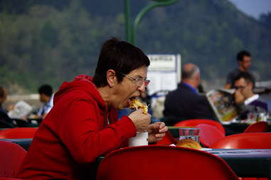 old woman eating