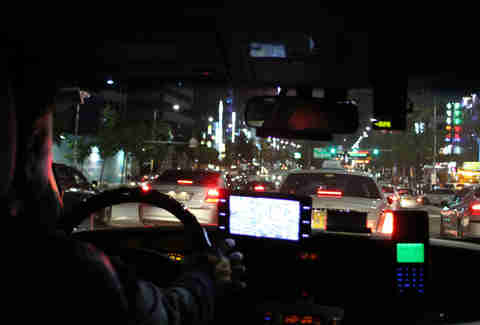 Inside a Korean taxi cab