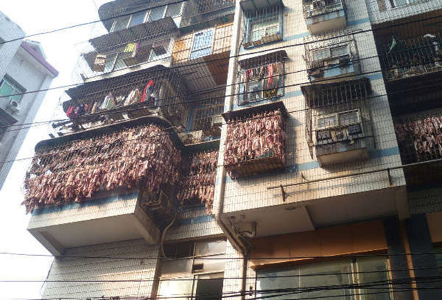 There\'s an apartment in China that\'s covered with bacon
