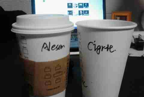 Misspelled Starbucks Allison and Cherie
