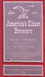 yuengling brewery plaque
