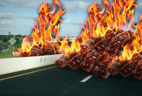Rib fire on freeway