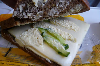 Cucumber and cheese sandwich