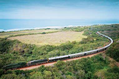 landscape, safari train