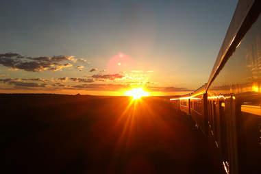 sunset along the safari train
