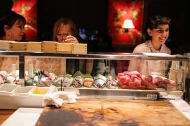 at the sushi counter