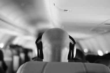 headphones on an airplane
