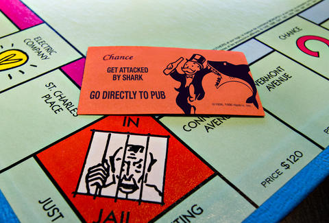 Shark attack Monopoly card