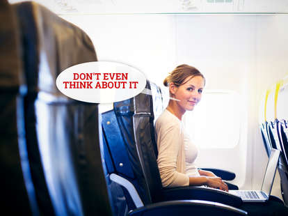 woman in airplane seat