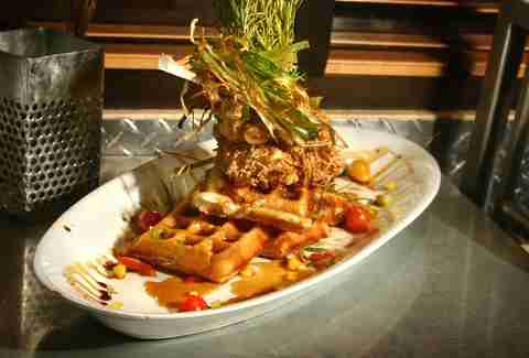 Andy's Sage Fried Chicken & Bacon Waffle Tower Best Hangover Cures SD