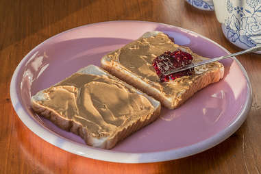 Peanut butter and jelly open face