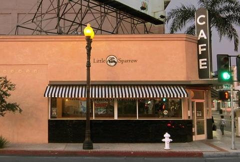 exterior of little sparrow cafe santa ana california