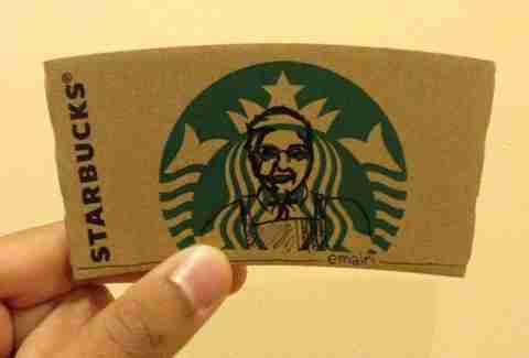 Colonel Sanders Starbucks sleeve