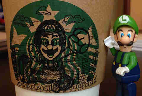 Super Mario Starbucks sleeve