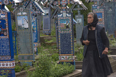 babushka in cemetery