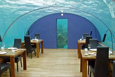 Dining room encased underwater