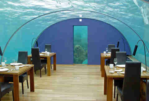 Dining room encased underwater