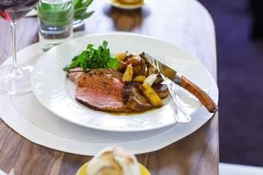 garlic-studded lamb