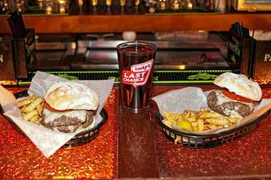 beer and burgers and lucky's