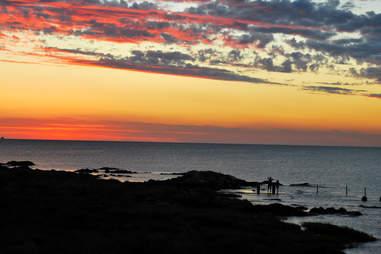 Sunset over beach in Uruguay