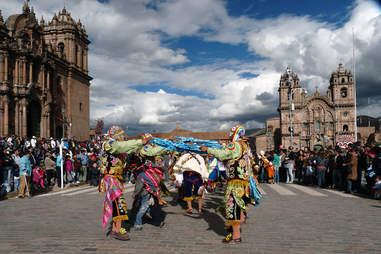 Corpus Christi celebration on the streets in Lima