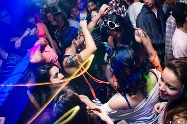 Revelers dancing in a club