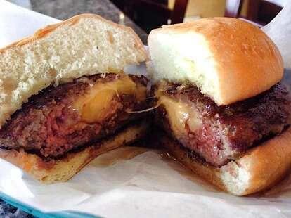 cheese-stuffed burger