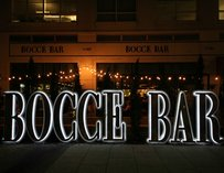 Front sign at Bocce Bar Miami
