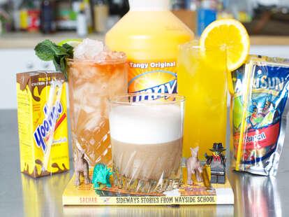 Sunny D, Yoo-hoo, and Capri Sun cocktails