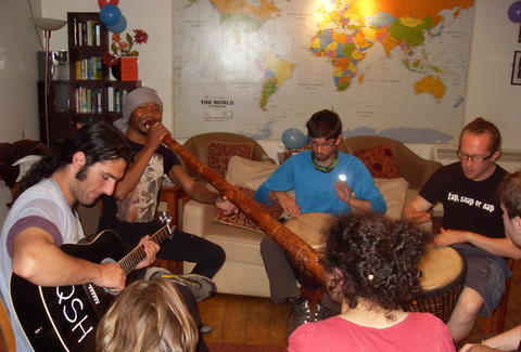 Jamming at the youth hostel