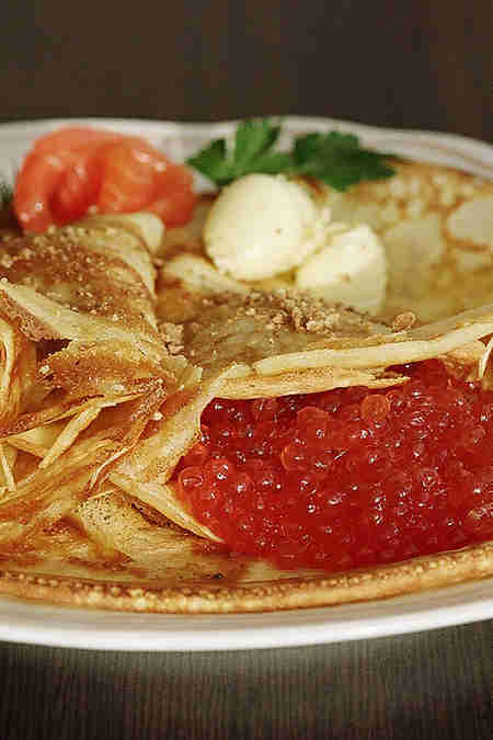 blini with red caviar
