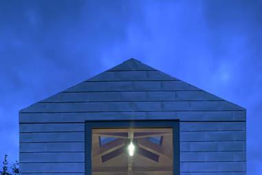 View of balancing barn at night