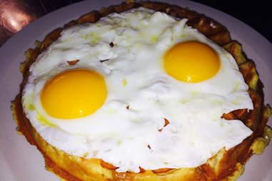 Bacon Belgian waffle with eggs