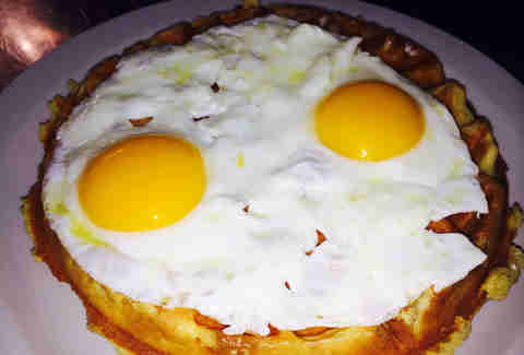 Bacon Belgian waffle with eggs