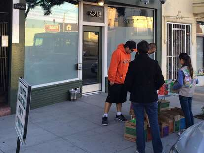 Girl Scout selling cookies outside weed dispensary