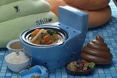 Meal at Modern Toilet in a toilet-shaped bowl