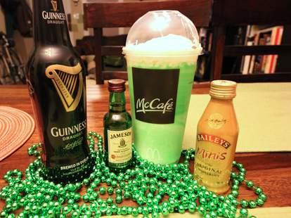 Shamrock Shake and booze