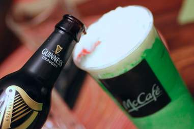 Guinness poured into a Shamrock Shake