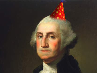 George Washington wearing a party hat