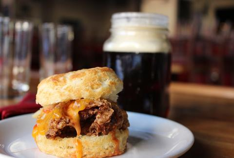 biscuit sandwich and beer at Percy Street Barbecue philadelphia