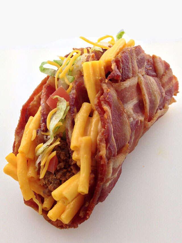 Double decker mac 'n cheese-stuffed bacon weave taco