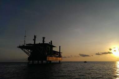 oil rig hotel sunset