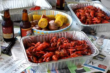Boiled crawfish and sides