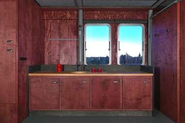 Boat hotel interior kitchen