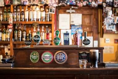 Beer tabs in an Irish pub