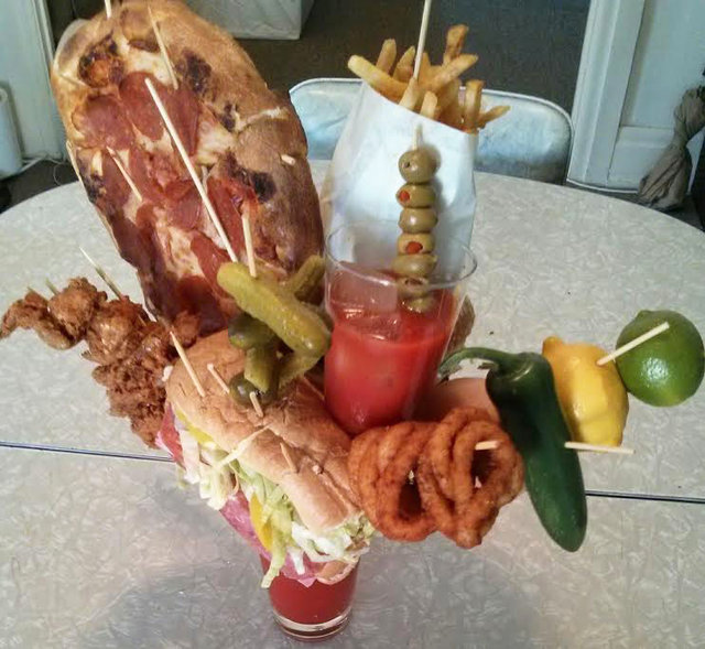 Bloody Mary with pizza, burgers, footlong sub