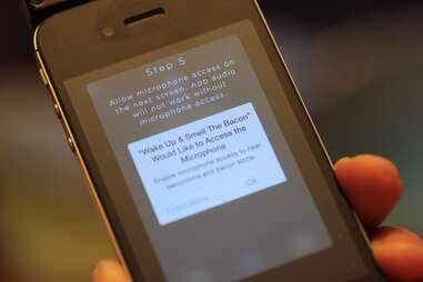 set-up screen of Oscar Meyer bacon app