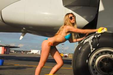 sexy plane cleaning